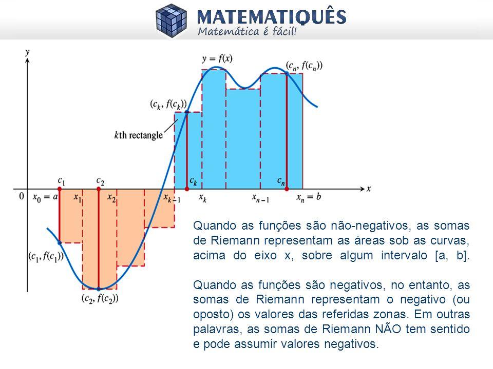 Quando as funções são não-negativos, as somas de Riemann representam as áreas sob as curvas, acima do eixo x, sobre algum intervalo [a, b].